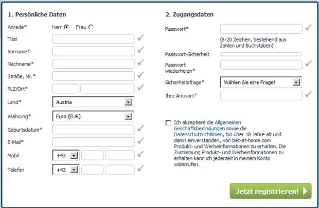 Anmeldung bei bet at Home - Registrieren und Anmeldeformular ausfüllen